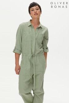 Oliver Bonas Green Washed Linen Mix Jumpsuit (M26997) | $118