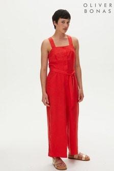 Oliver Bonas Red Linen Button Through Wide Leg Jumpsuit (M27070) | $104