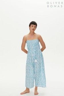 Oliver Bonas Blue Geometric Print Jumpsuit (M27102) | $62