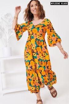 Robe Myleene Klass à fleurs et manches bouffantes