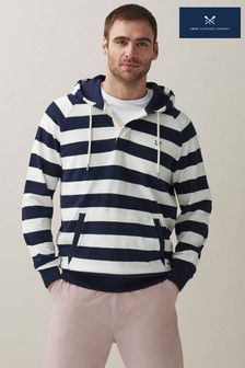 Crew Clothing Company海軍藍/白色條紋鈕扣連帽上衣