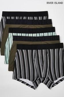 River Island Khaki Stripes Trunks 5 Pack