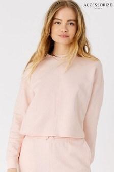 Accessorize Pink Organic Cotton Lounge Cropped Sweatshirt