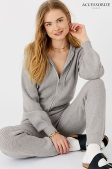 Accessorize Grey Ribbed Knit Lounge Hoodie