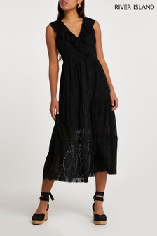 River Island Black Frill Broidery Smock Midi Dress