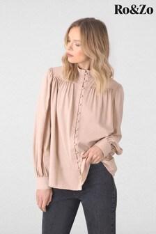 חולצה עם שרוולי בלוזון עם כפתורים של Ro&Zo בצבע ניוד
