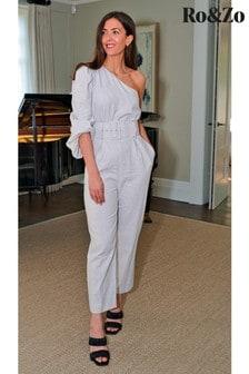 Ro&zo Grey Linen One Shoulder Belted Jumpsuit (M29287)   $173