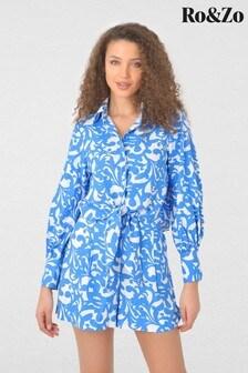 חולצה עם קשירה מלפנים מפשתן עם הדפס של Ro&Zo דגם Swirl בכחול