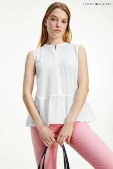 חולצה מבד פפלום כותנה של Tommy Hilfiger בלבן