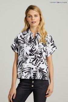 חולצה בגזרה רפויה מטוויל ויסקוזה של Tommy Hilfiger בשחור