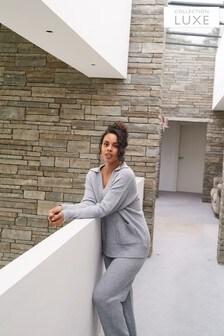 Collection Luxe Premium Lounge-Hose mit Kaschmir und weitem Bein, Grau