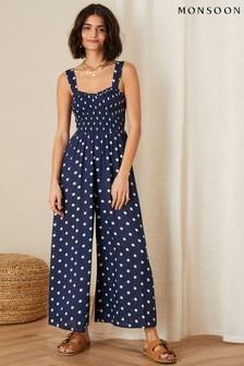 Monsoon Blue Hector Polka Dot Jumpsuit (M34150)   $76