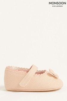 Monsoon粉色亮面蝴蝶嬰兒靴