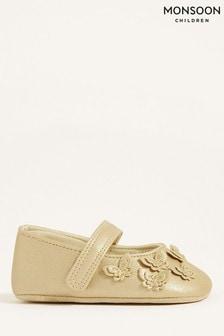 Золотистые туфли с бабочками Monsoon