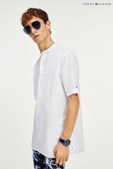 Tommy Hilfiger White Relaxed Short Sleeve Seersucker Shirt