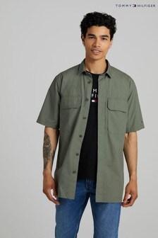 Tommy Hilfiger Green Paper Touch Poplin Overshirt