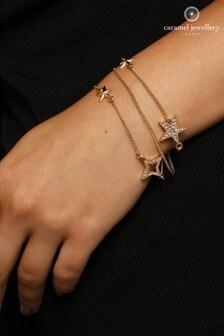 Caramel Jewellery London Sparkling Star Layered Gold Tone Crystal Effect Charm Bracelet