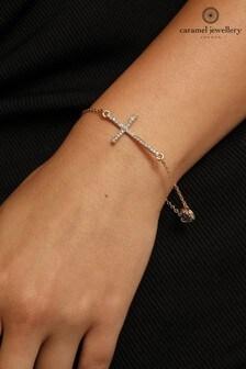 Caramel Jewellery London Gold Tone Cross Charm Crystal Effect Friendship Bracelet