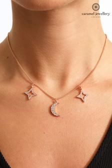 Caramel Jewellery London Celestial Rose Gold Tone Star And Moon Crystal Effect Charm Necklace