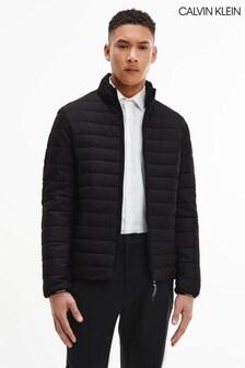 Calvin Klein黑色皺摺尼龍外套