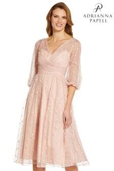 Adrianna Papell Pink Glitter Tulle Dress