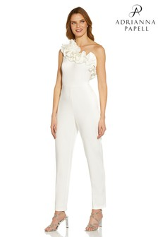 Adrianna Papell White Knit Crepe Ruffle Jumpsuit (M36045) | $290