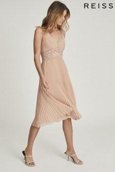 Платье миди с кружевом и плиссировкойREISS Emma