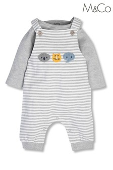 M&Co Grey Newborn Boucle Dungarees