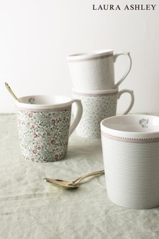 Set of 4 Laura Ashley Wild Clematis Mugs