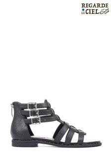 Regarde Le Ciel Ladies Black Catalina-01 Leather Gladiator Sandals