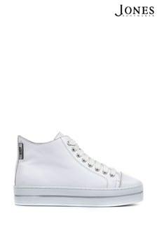 Jones Bootmaker White Adrianna Ladies Leather High-Top Platform Trainers