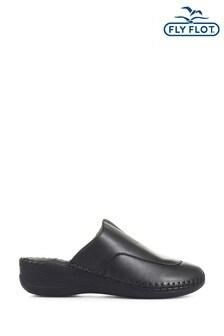 Fly Flot Black Ladies Leather Slip-On Clogs
