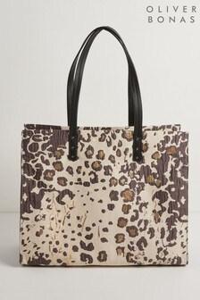 Черно-белая сумка-тоут с леопардовым принтом Oliver Bonas