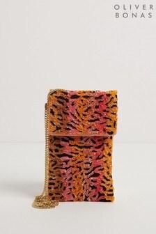 Оранжевая сумка для телефона с зебровым принтом и длинным ремешком Oliver Bonas Zass