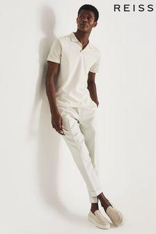 REISS Stefan Cream Piqué Cotton Open Collar Polo Shirt