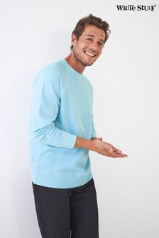White Stuff Blue Crew Neck Loop Back Sweater