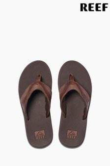 Reef Brown Leather Fanning Flip Flops