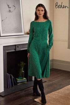 Зеленое трикотажное платье миди Boden Evelyn