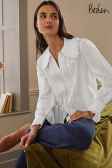 Boden White Clare Broderie Shirt