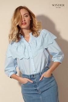 חולצת מלמלה מכותנה מחוררת דגםStudio שלSonder
