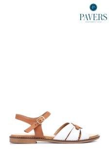 Pavers Ladies Flat Leather Sandals