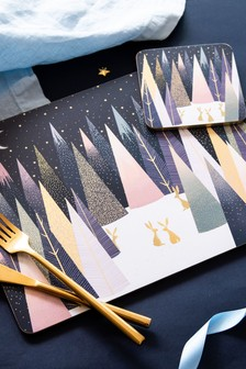Set of 4 Sara Miller Pimpernel Frosted Pines Christmas Large Placemats