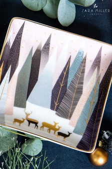 Sara Miller Portmeirion Frosted Pines Christmas Set of 3 Square Dishes