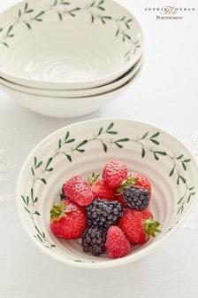 Set of 4 Sophie Conran White Portmeirion Christmas Mistletoe Bowls
