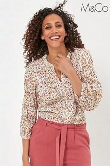 חולצה פרחונית Dobbyבצבע שמנת שלM&Co