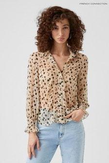 חולצה מאריג ממוחזר במרקם מקומט של French Connection דגם Dolores בצבע גוף