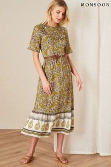 Желтое платье с принтом на кокетке в стиле ретро Monsoon Suranne