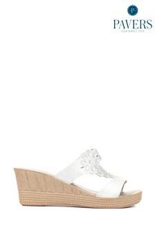 Pavers Ladies White Wedge Mule Sandals