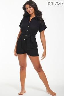 Figleaves Black San Sabastian Button Down Shirt Playsuit (M43626) | $48