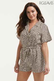 Figleaves Leopard Print Serengeti Button Down Shirt Playsuit (M43628) | $53